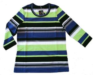 Canyon T-Shirt 3/4 Arm Ringel lime-midnight-white