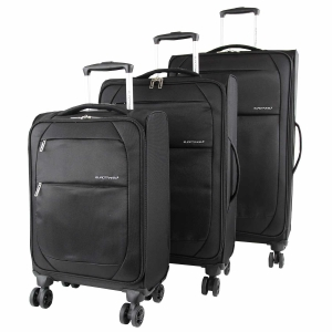 Eurotravel 4-Rollen Koffer Set 3-teilig schwarz Superlight