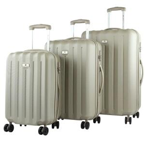 Eurotravel 4-Rollen Kofferset ABS 3-er-Set taupe